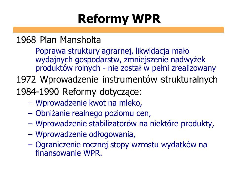Reformy WPR 1968Plan Mansholta Poprawa struktury agrarnej, likwidacja mało wydajnych gospodarstw, zmniejszenie nadwyżek produktów rolnych - nie został