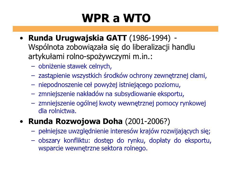 WPR a WTO Runda Urugwajskia GATT (1986-1994) - Wspólnota zobowiązała się do liberalizacji handlu artykułami rolno-spożywczymi m.in.: –obniżenie stawek