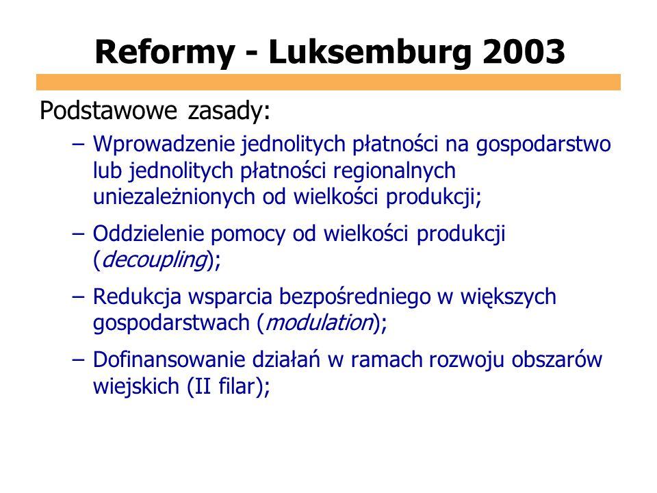 Reformy - Luksemburg 2003 Podstawowe zasady: –Wprowadzenie jednolitych płatności na gospodarstwo lub jednolitych płatności regionalnych uniezależniony