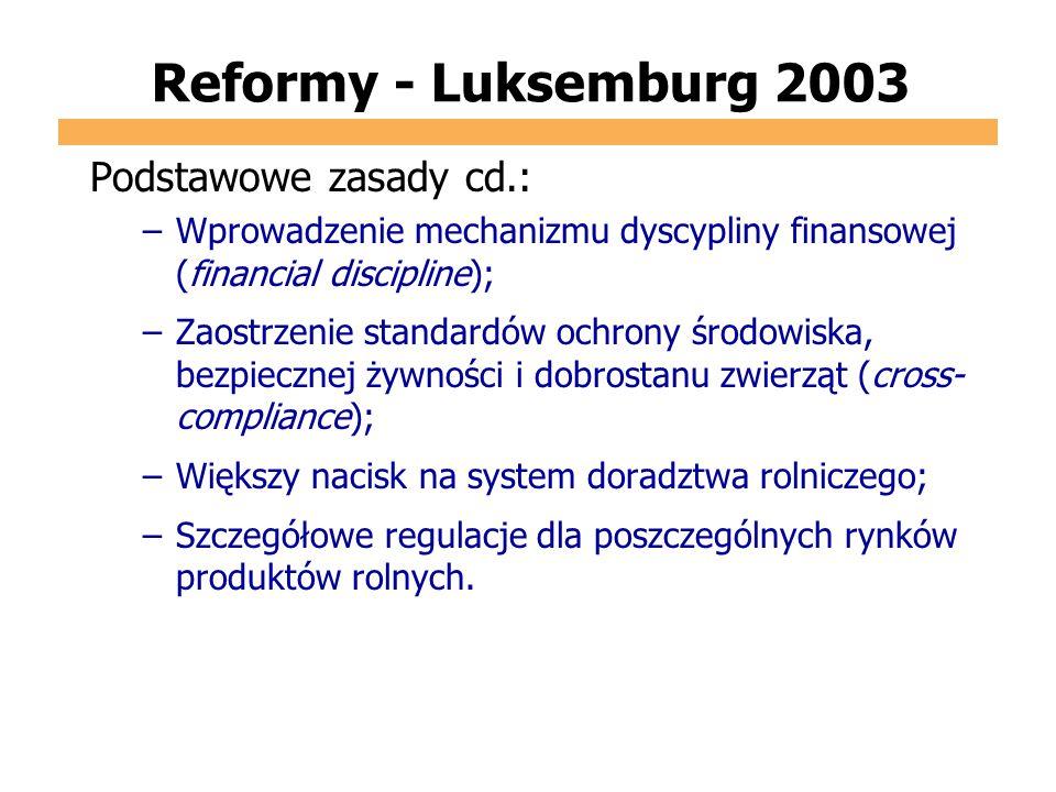 Reformy - Luksemburg 2003 Podstawowe zasady cd.: –Wprowadzenie mechanizmu dyscypliny finansowej (financial discipline); –Zaostrzenie standardów ochron