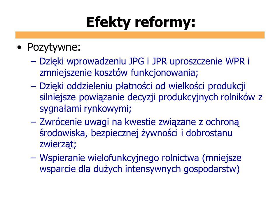 Efekty reformy: Pozytywne: –Dzięki wprowadzeniu JPG i JPR uproszczenie WPR i zmniejszenie kosztów funkcjonowania; –Dzięki oddzieleniu płatności od wie