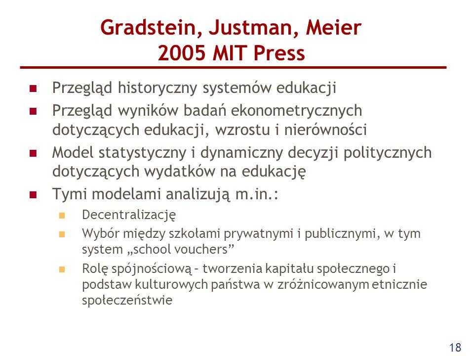 """Gradstein, Justman, Meier 2005 MIT Press Przegląd historyczny systemów edukacji Przegląd wyników badań ekonometrycznych dotyczących edukacji, wzrostu i nierówności Model statystyczny i dynamiczny decyzji politycznych dotyczących wydatków na edukację Tymi modelami analizują m.in.: Decentralizację Wybór między szkołami prywatnymi i publicznymi, w tym system """"school vouchers Rolę spójnościową – tworzenia kapitału społecznego i podstaw kulturowych państwa w zróżnicowanym etnicznie społeczeństwie 18"""