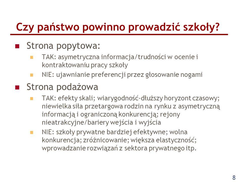 Argumenty spoza głównego nurtu ekonomii Nierówności (szans, jakości nauczania, dostępnych zasobów) Segregacja Indoktrynacja/socjalizacja/wychowanie Znaczenie polityczne: wydatki na edukację (Polska: 5% PKB, blisko 50% wydatków samorządów) Związki zawodowe (kilkaset tysięcy nauczycieli; najliczniejsza profesja w sejmie) Znaczenie lokalne szkół Powszechność nauczania Powołanie jako główna motywacja pracy nauczycieli 9