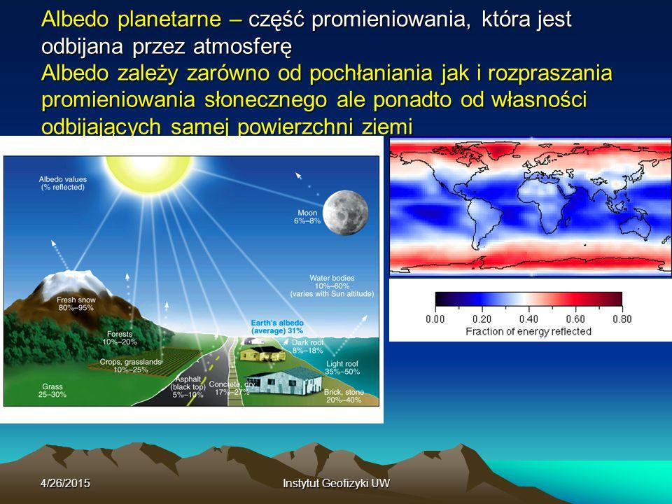 4/26/2015Instytut Geofizyki UW Albedo planetarne – część promieniowania, która jest odbijana przez atmosferę Albedo zależy zarówno od pochłaniania jak i rozpraszania promieniowania słonecznego ale ponadto od własności odbijających samej powierzchni ziemi