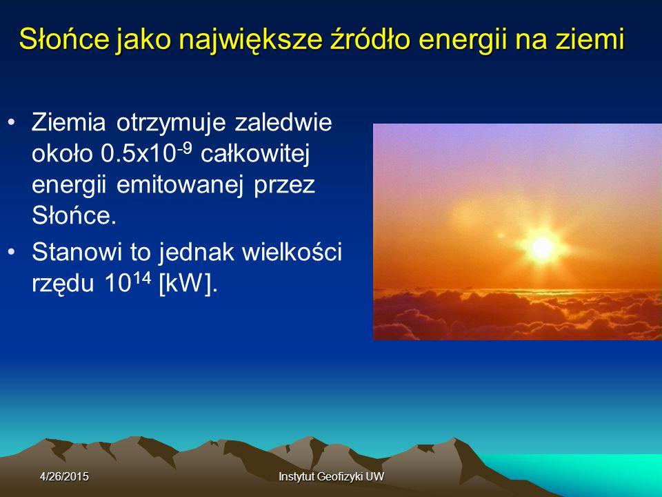 4/26/2015Instytut Geofizyki UW Słońce jako największe źródło energii na ziemi Ziemia otrzymuje zaledwie około 0.5x10 -9 całkowitej energii emitowanej przez Słońce.