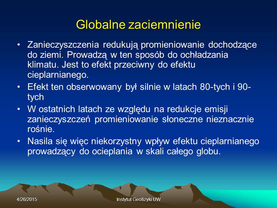 4/26/2015Instytut Geofizyki UW Globalne zaciemnienie Zanieczyszczenia redukują promieniowanie dochodzące do ziemi. Prowadzą w ten sposób do ochładzani