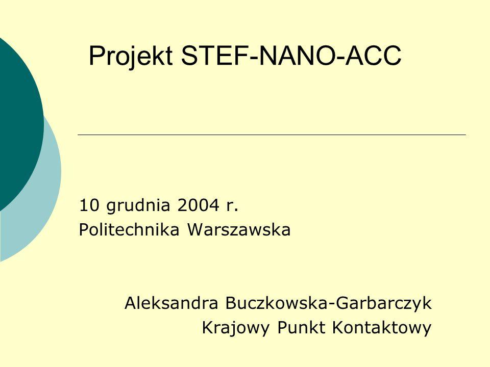 Projekt STEF-NANO-ACC 10 grudnia 2004 r.