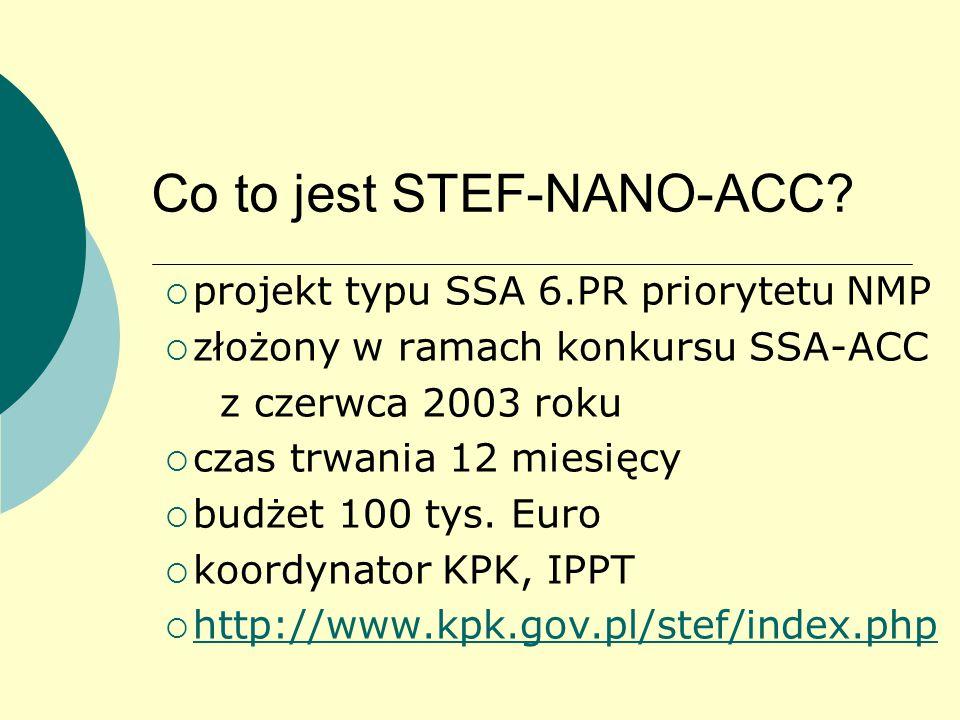 Co to jest STEF-NANO-ACC?  projekt typu SSA 6.PR priorytetu NMP  złożony w ramach konkursu SSA-ACC z czerwca 2003 roku  czas trwania 12 miesięcy 