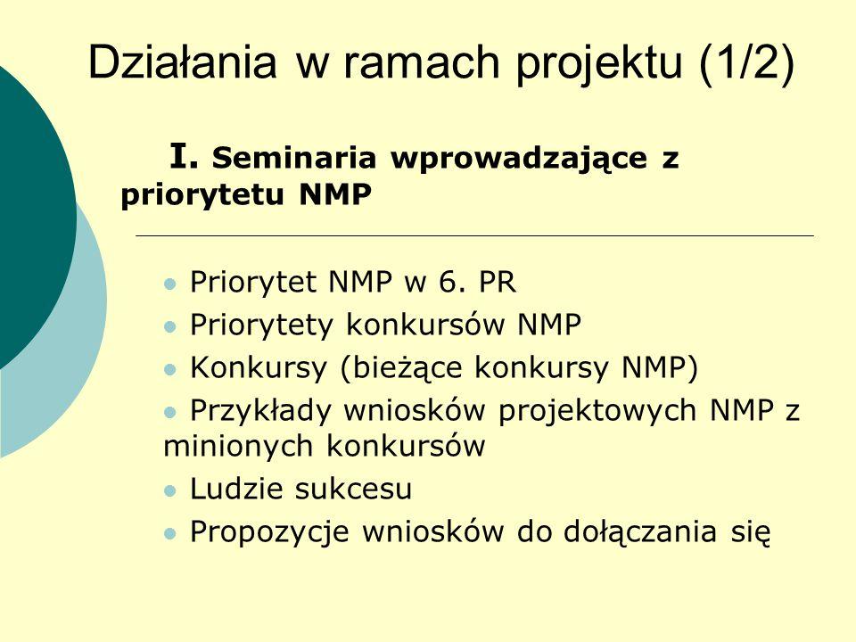 Działania w ramach projektu (1/2) I. Seminaria wprowadzające z priorytetu NMP Priorytet NMP w 6.