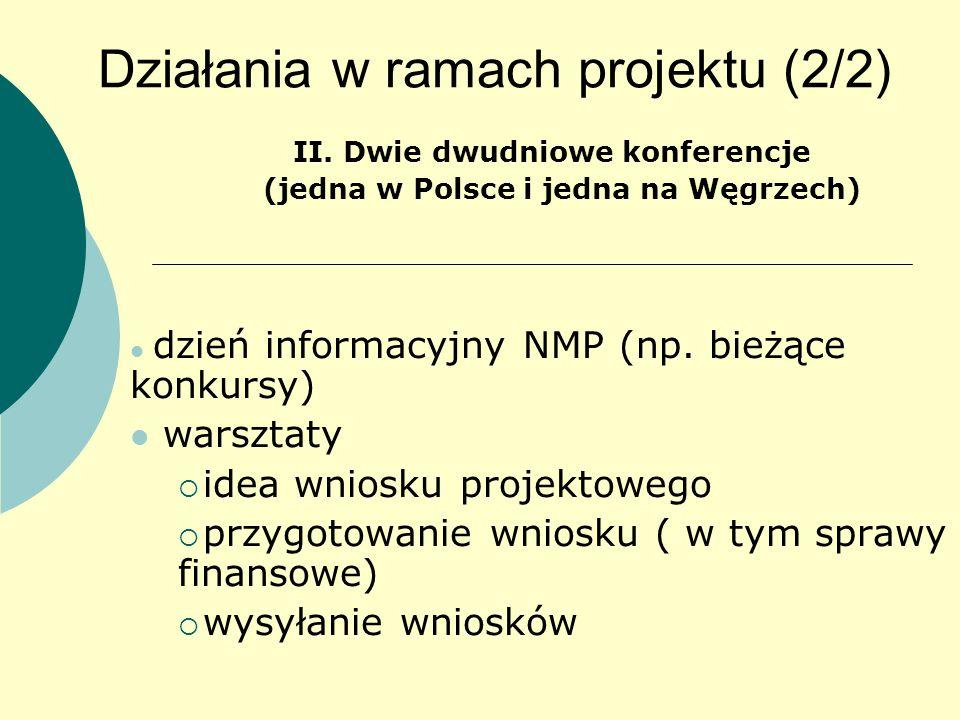 Działania w ramach projektu (2/2) II.