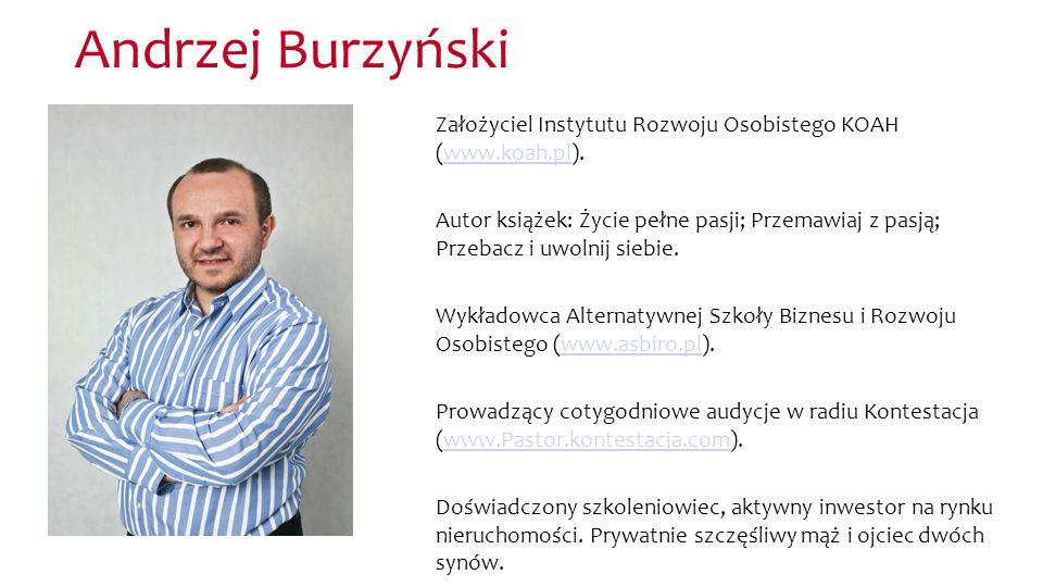 Andrzej Burzyński Założyciel Instytutu Rozwoju Osobistego KOAH (www.koah.pl).www.koah.pl Autor książek: Życie pełne pasji; Przemawiaj z pasją; Przebac
