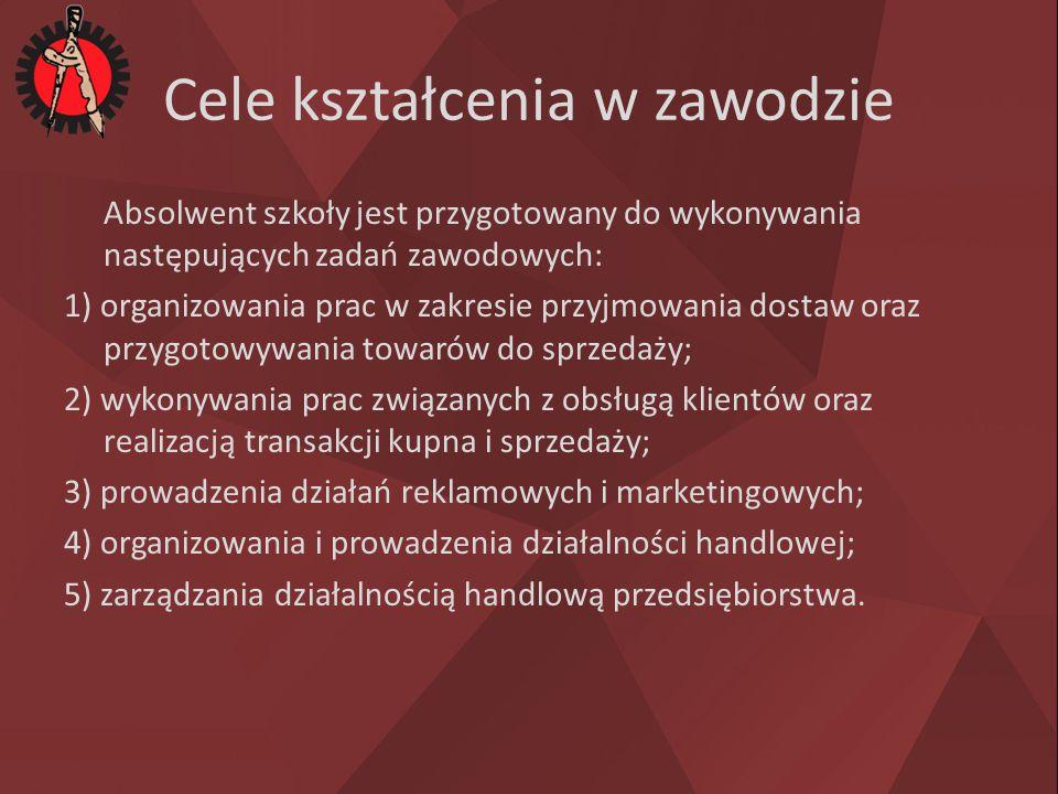 Cele kształcenia w zawodzie Absolwent szkoły jest przygotowany do wykonywania następujących zadań zawodowych: 1) organizowania prac w zakresie przyjmo