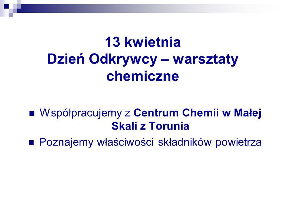 13 kwietnia Dzień Odkrywcy – warsztaty chemiczne Współpracujemy z Centrum Chemii w Małej Skali z Torunia Poznajemy właściwości składników powietrza