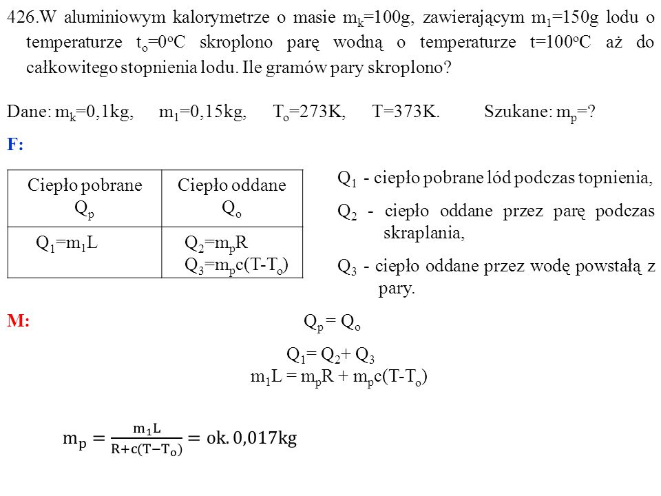 Ciepło pobrane Q p Ciepło oddane Q o Q 1 =m 1 LQ 2 =m p R Q 3 =m p c(T-T o )
