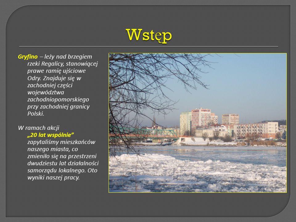 Gryfino – leży nad brzegiem rzeki Regalicy, stanowiącej prawe ramię ujściowe Odry.
