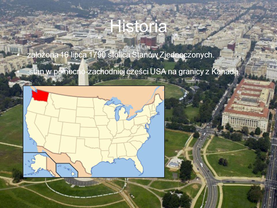 Historia założona 16 lipca 1790 stolica Stanów Zjednoczonych. stan w północno-zachodniej części USA na granicy z Kanadą.
