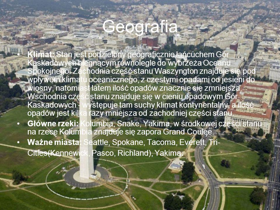 Geografia Klimat: Stan jest podzielony geograficznie łańcuchem Gór Kaskadowych biegnącym równolegle do wybrzeża Oceanu Spokojnego. Zachodnia część sta