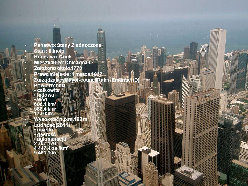 Państwo: Stany Zjednoczone Stan : Illinois Hrabstwo: Cook Mieszkaniec: Chicagoan Założono około 1770 Prawa miejskie :4 marca 1837 ZarządzającyMayor-co