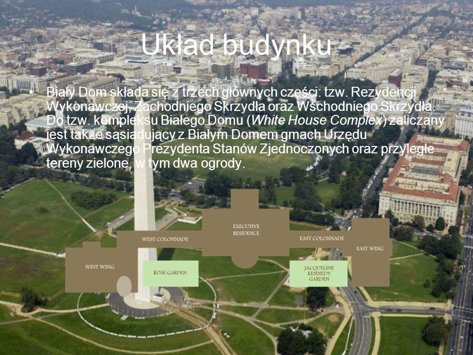 Układ budynku Biały Dom składa się z trzech głównych części: tzw. Rezydencji Wykonawczej, Zachodniego Skrzydła oraz Wschodniego Skrzydła. Do tzw. komp