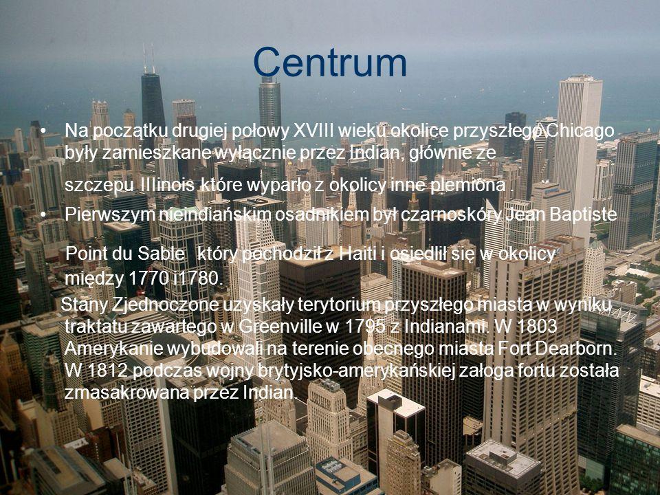 Centrum Na początku drugiej połowy XVIII wieku okolice przyszłego Chicago były zamieszkane wyłącznie przez Indian, głównie ze szczepu IIIinois które w