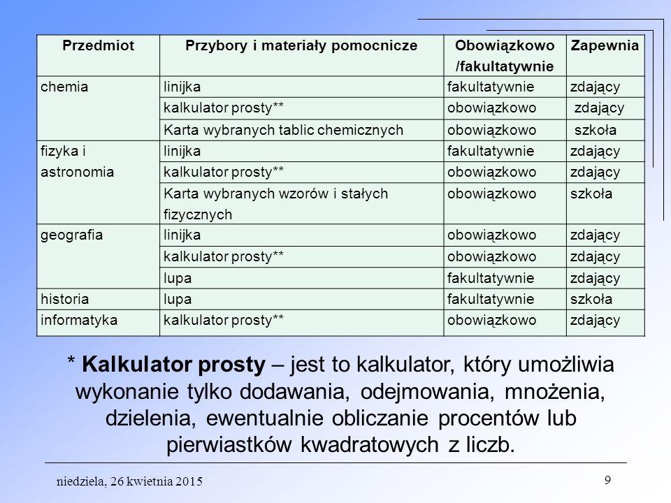 niedziela, 26 kwietnia 2015 40 Informacje dodatkowe na stronach: Okręgowa Komisja Egzaminacyjna www.oke.jaworzno.pl Centalna Komisja Egzaminacyjna www.cke.edu.pl