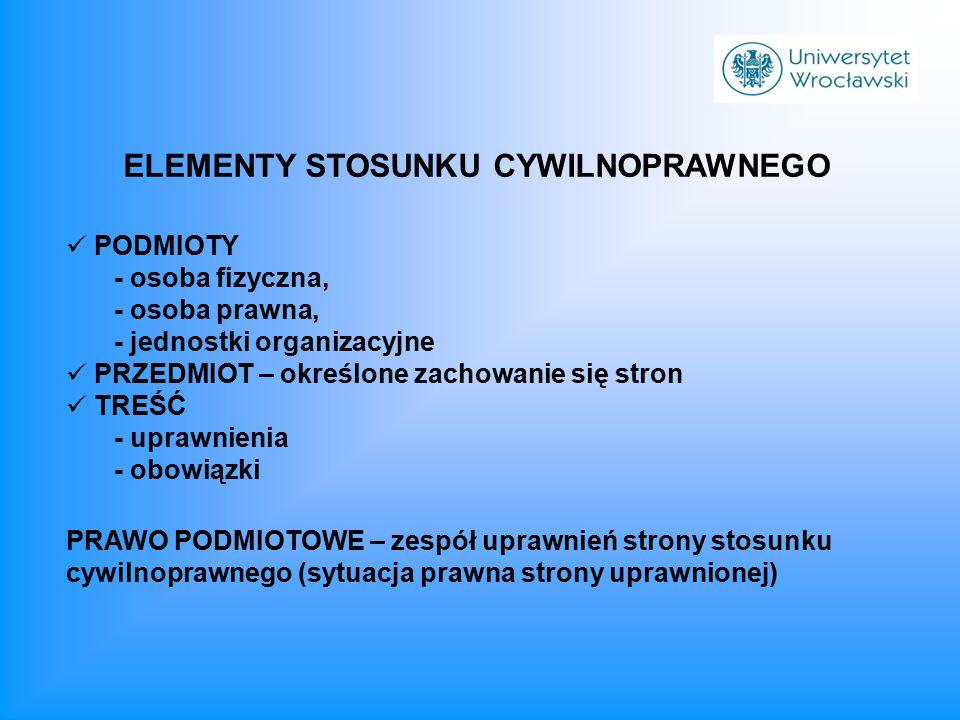PODMIOTY - osoba fizyczna, - osoba prawna, - jednostki organizacyjne PRZEDMIOT – określone zachowanie się stron TREŚĆ - uprawnienia - obowiązki ELEMEN