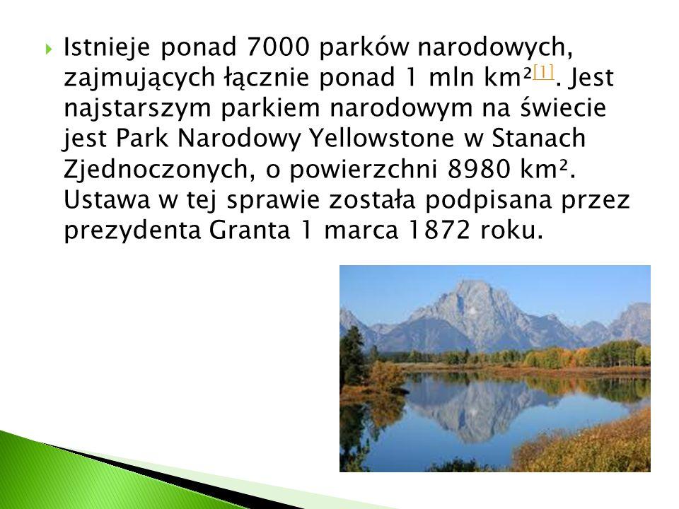  Istnieje ponad 7000 parków narodowych, zajmujących łącznie ponad 1 mln km² [1]. Jest najstarszym parkiem narodowym na świecie jest Park Narodowy Yel