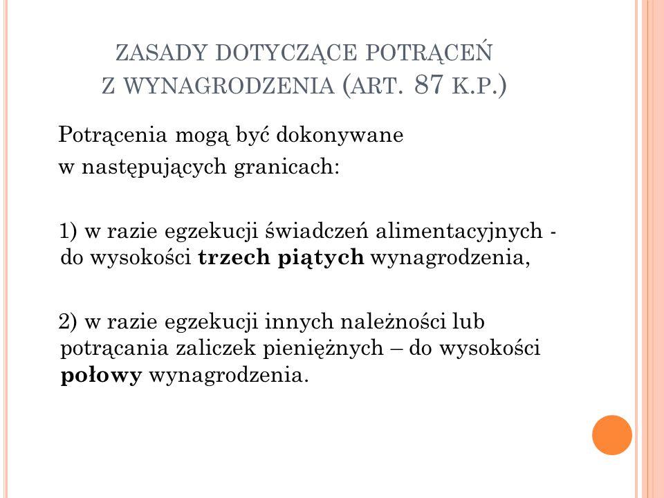 ZASADY DOTYCZĄCE POTRĄCEŃ Z WYNAGRODZENIA ( ART.87 K.