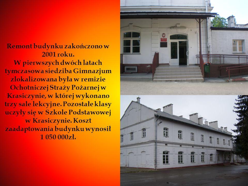Remont budynku zakończono w 2001 roku. W pierwszych dwóch latach tymczasowa siedziba Gimnazjum zlokalizowana była w remizie Ochotniczej Straży Pożarne