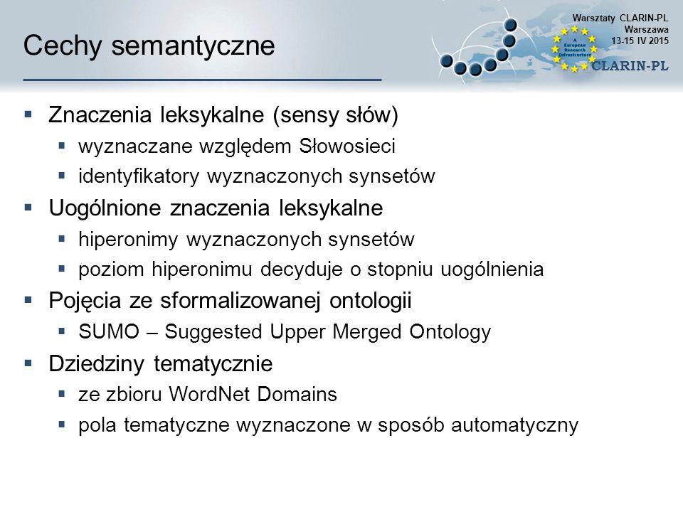 Cechy semantyczne  Znaczenia leksykalne (sensy słów)  wyznaczane względem Słowosieci  identyfikatory wyznaczonych synsetów  Uogólnione znaczenia l