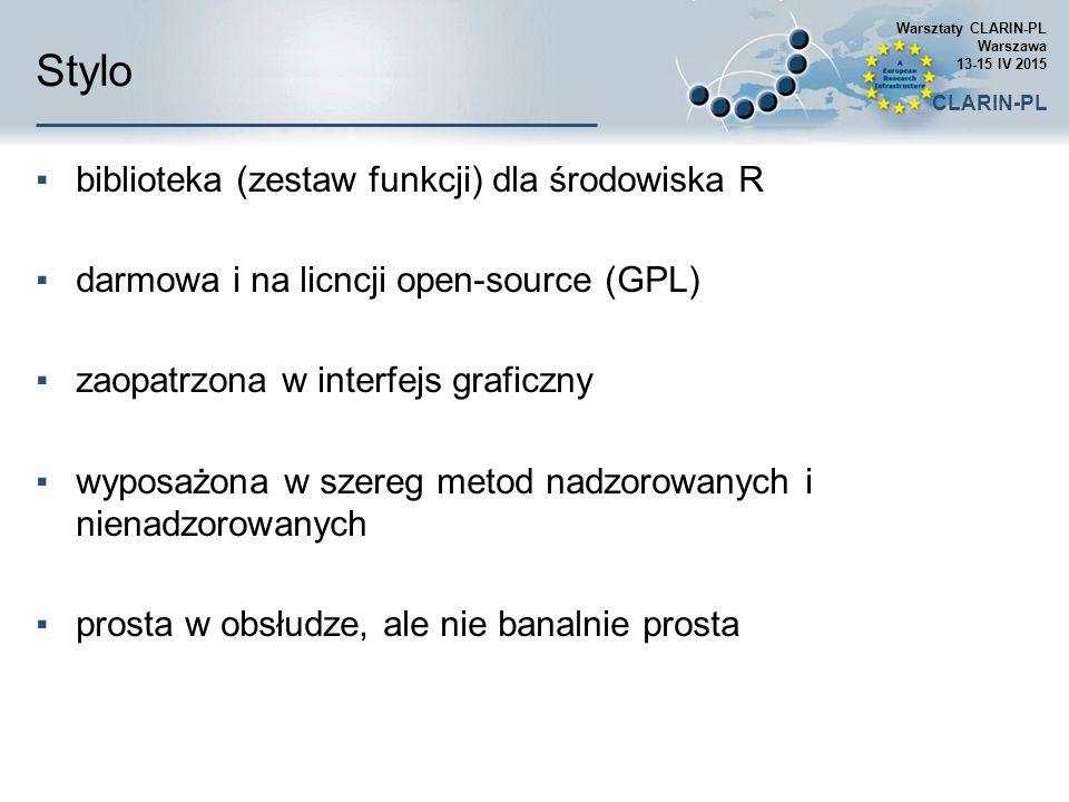 Stylo ▪biblioteka (zestaw funkcji) dla środowiska R ▪darmowa i na licncji open-source (GPL) ▪zaopatrzona w interfejs graficzny ▪wyposażona w szereg me