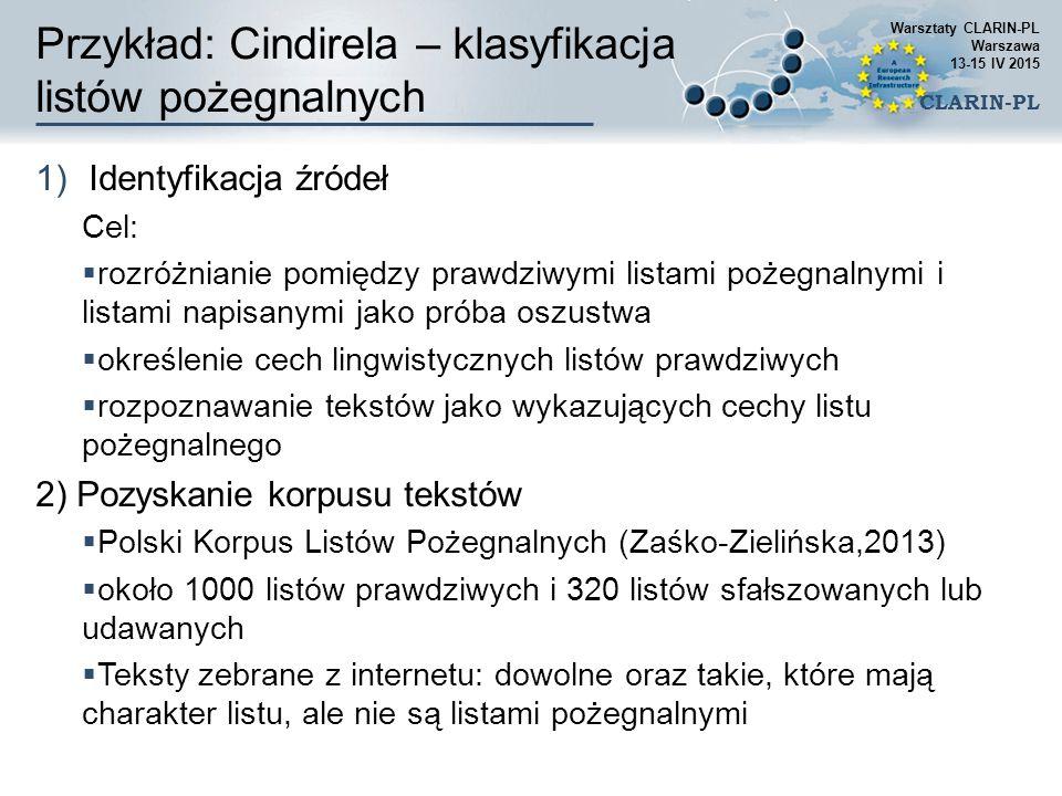 Przykład: Cindirela – klasyfikacja listów pożegnalnych 1)Identyfikacja źródeł Cel:  rozróżnianie pomiędzy prawdziwymi listami pożegnalnymi i listami