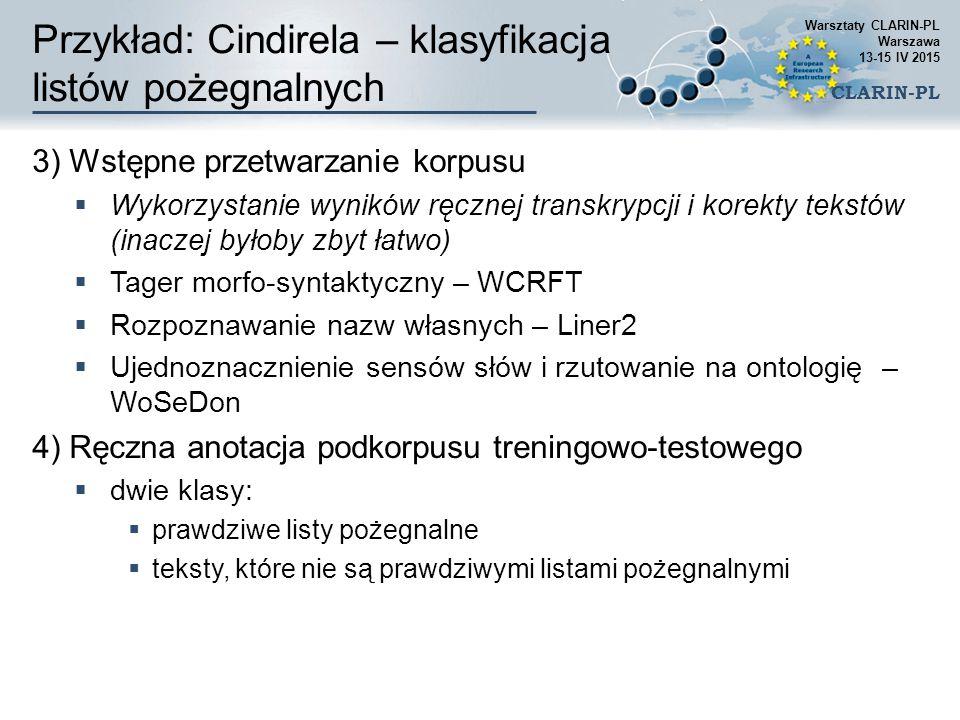 Przykład: Cindirela – klasyfikacja listów pożegnalnych 3) Wstępne przetwarzanie korpusu  Wykorzystanie wyników ręcznej transkrypcji i korekty tekstów