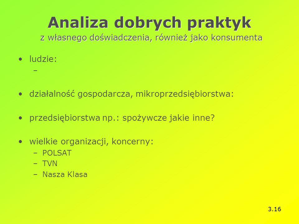 3.16 Analiza dobrych praktyk z własnego doświadczenia, również jako konsumenta ludzie: – działalność gospodarcza, mikroprzedsiębiorstwa: przedsiębiorstwa np.: spożywcze jakie inne.