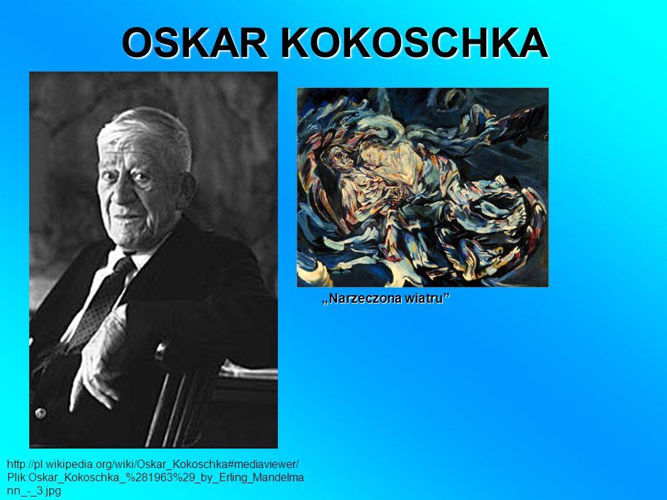 """OSKAR KOKOSCHKA http://pl.wikipedia.org/wiki/Oskar_Kokoschka#mediaviewer/ Plik:Oskar_Kokoschka_%281963%29_by_Erling_Mandelma nn_-_3.jpg """"Narzeczona wiatru"""