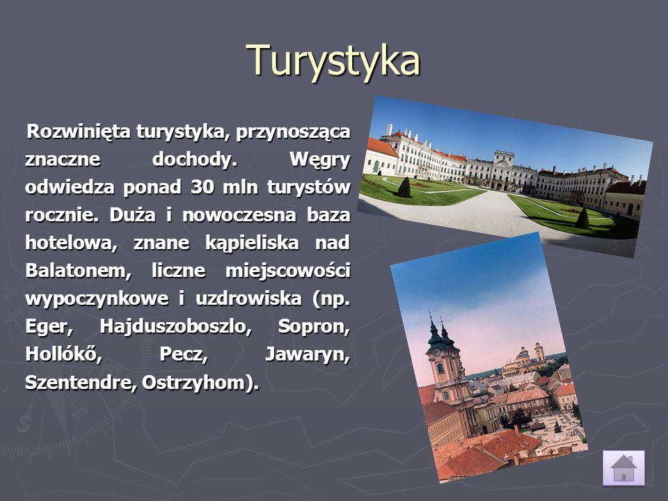 Turystyka Rozwinięta turystyka, przynosząca znaczne dochody. Węgry odwiedza ponad 30 mln turystów rocznie. Duża i nowoczesna baza hotelowa, znane kąpi
