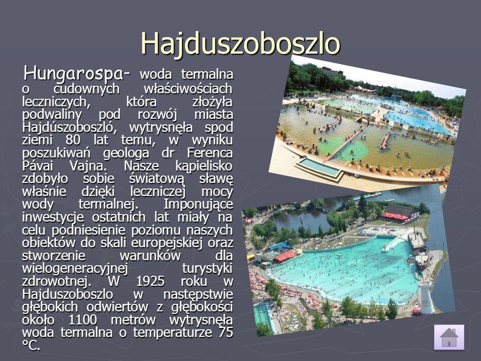 Hajduszoboszlo Hungarospa - woda termalna o cudownych właściwościach leczniczych, która złożyła podwaliny pod rozwój miasta Hajdúszoboszló, wytrysnęła