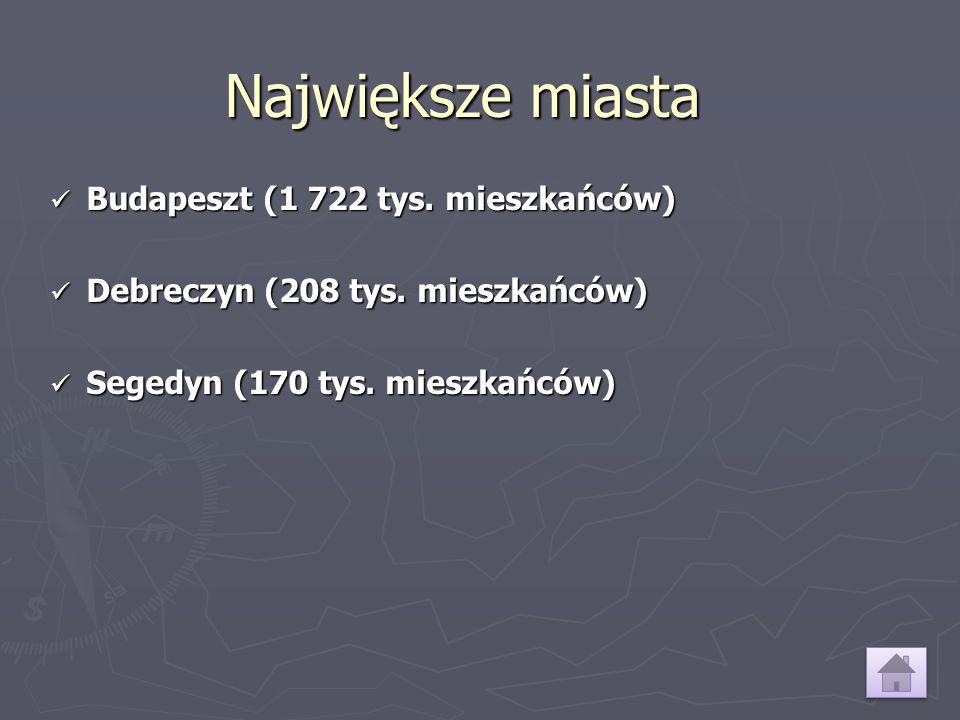 Największe miasta Budapeszt (1 722 tys. mieszkańców) Budapeszt (1 722 tys. mieszkańców) Debreczyn (208 tys. mieszkańców) Debreczyn (208 tys. mieszkańc