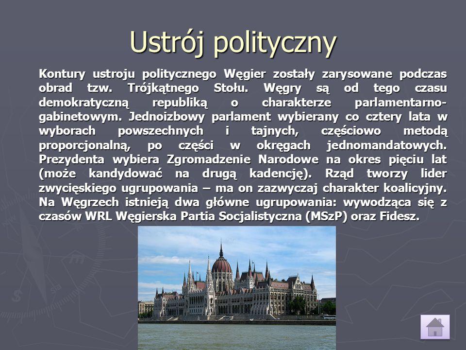 Ustrój polityczny Kontury ustroju politycznego Węgier zostały zarysowane podczas obrad tzw. Trójkątnego Stołu. Węgry są od tego czasu demokratyczną re