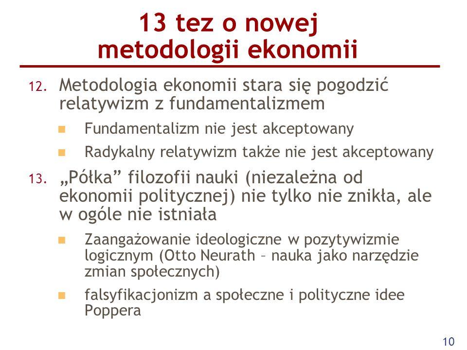 10 13 tez o nowej metodologii ekonomii 12. Metodologia ekonomii stara się pogodzić relatywizm z fundamentalizmem Fundamentalizm nie jest akceptowany R