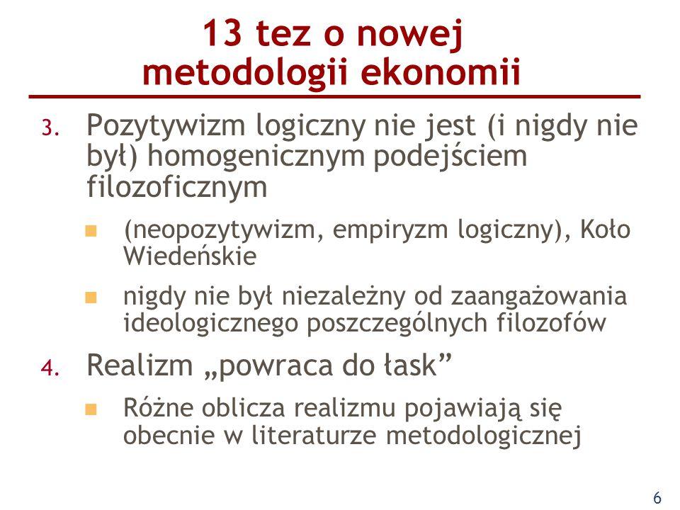 6 13 tez o nowej metodologii ekonomii 3. Pozytywizm logiczny nie jest (i nigdy nie był) homogenicznym podejściem filozoficznym (neopozytywizm, empiryz