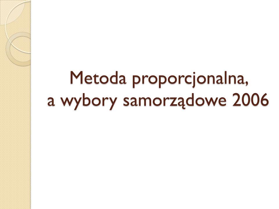 Metoda proporcjonalna, a wybory samorządowe 2006