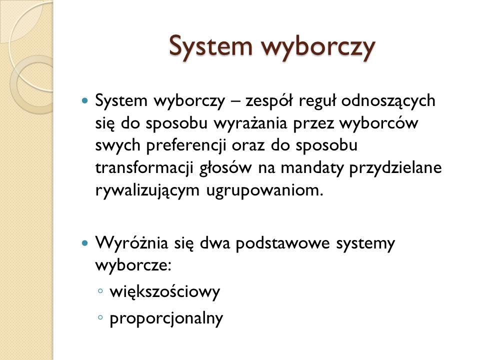 System wyborczy System wyborczy – zespół reguł odnoszących się do sposobu wyrażania przez wyborców swych preferencji oraz do sposobu transformacji głosów na mandaty przydzielane rywalizującym ugrupowaniom.