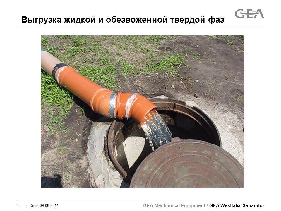 GEA Mechanical Equipment / GEA Westfalia Separator 13 г. Киев 09.08.2011 Выгрузка жидкой и обезвоженной твердой фаз