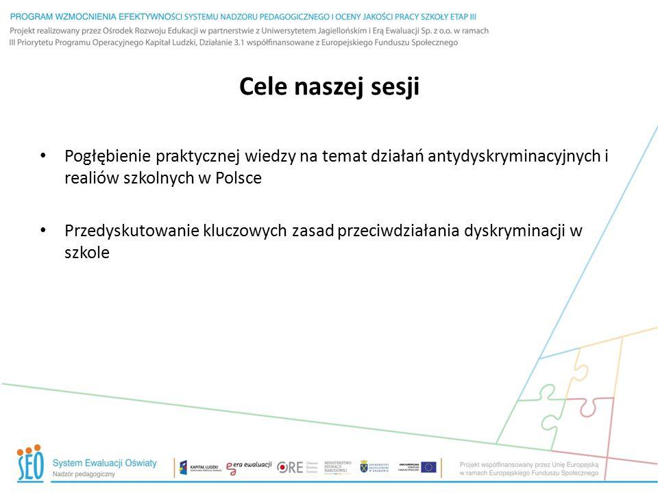 Cele naszej sesji Pogłębienie praktycznej wiedzy na temat działań antydyskryminacyjnych i realiów szkolnych w Polsce Przedyskutowanie kluczowych zasad