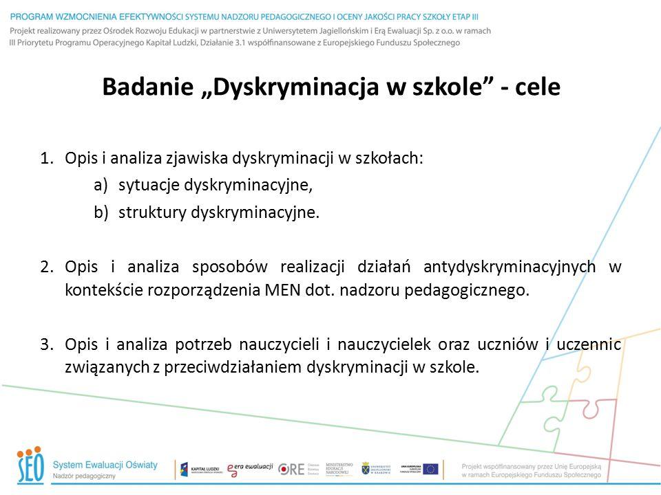 """Badanie """"Dyskryminacja w szkole"""" - cele 1.Opis i analiza zjawiska dyskryminacji w szkołach: a)sytuacje dyskryminacyjne, b)struktury dyskryminacyjne. 2"""