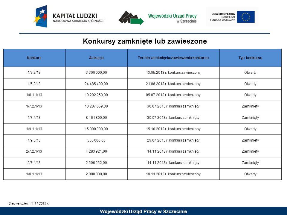 Wojewódzki Urząd Pracy w Szczecinie Stan na dzień: 11.11 2013 r.