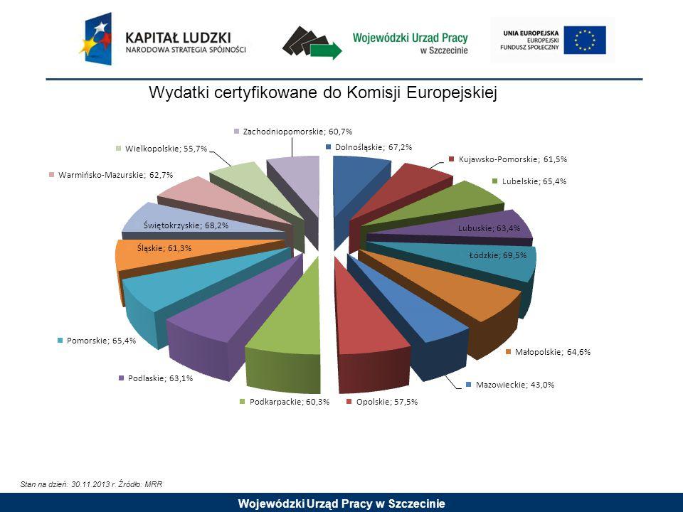 Wojewódzki Urząd Pracy w Szczecinie Wydatki certyfikowane do Komisji Europejskiej Stan na dzień: 30.11.2013 r.