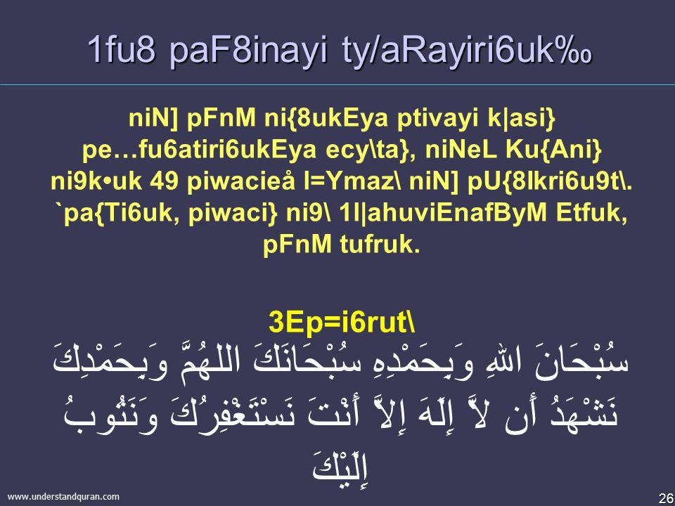 25 www.understandquran.com & g~hpaFN] mR6atiri6uk.  xivsvuM raviel % mini\ paFM Av{8i6uk  % mini\ priBaWkUfaet mus\hP\ Ena6i parayzM nf8uk  % mini\