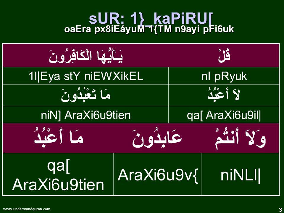 "2 www.understandquran.com 2O paF8i} … Ku{A[: sUR: 1}_kaPiRU[ vYakrzM 1pU{¡ `kiyk] 1pU{¡ `kiyk] pFn6uRi""\ &Ò@ EhaMv{6iel AxYe8 reH¡M"